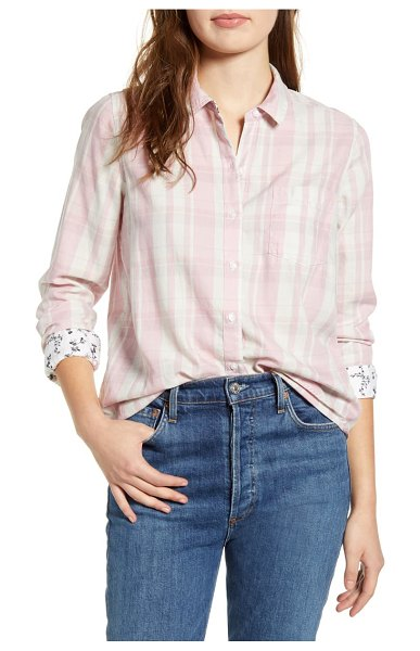 Lucky Brand plaid one-pocket shirt in pink