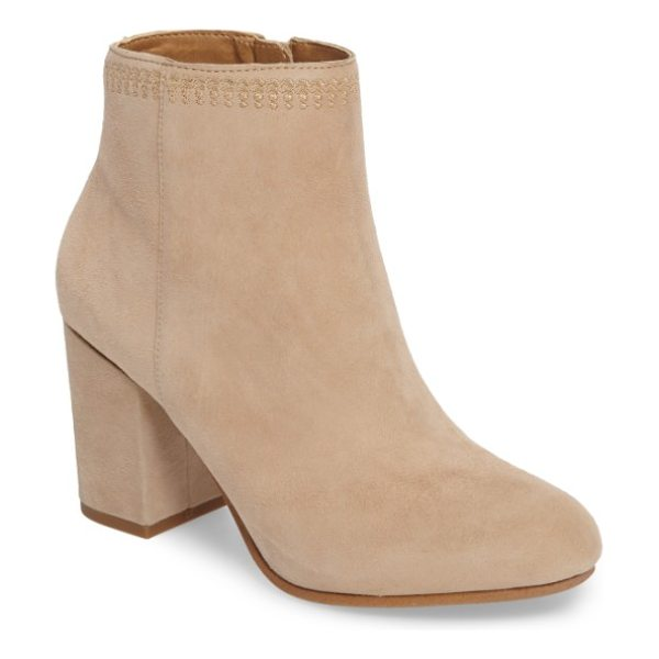 Lucky Brand salmah 2 bootie in travertine suede - Decorative tonal stitching highlights the topline of a...