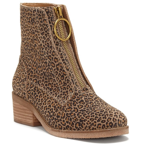 Lucky Brand tibly zip bootie in brown - A chunky front zip with an O-ring pull adds a bit of mod...