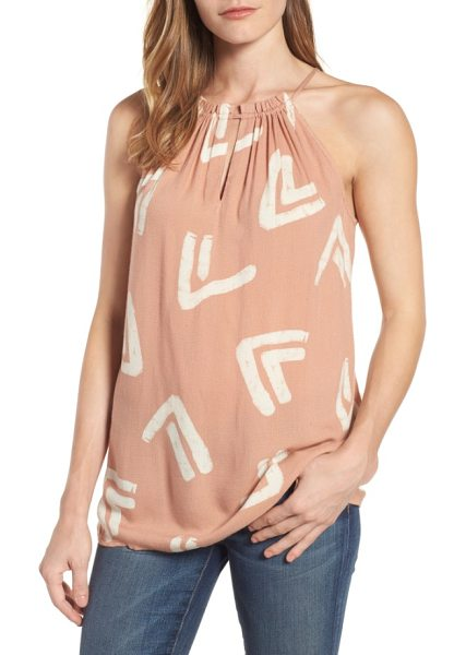 LUCKY BRAND tie back batik tank - A softly gathered keyhole neckline that ties at the back...