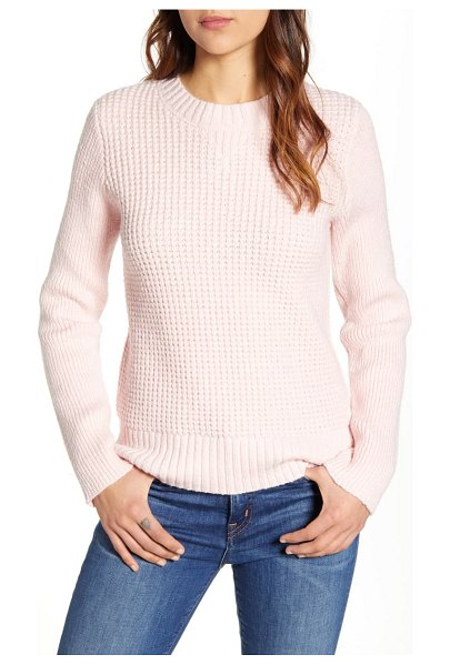 Lucky Brand waffle knit pullover in pink