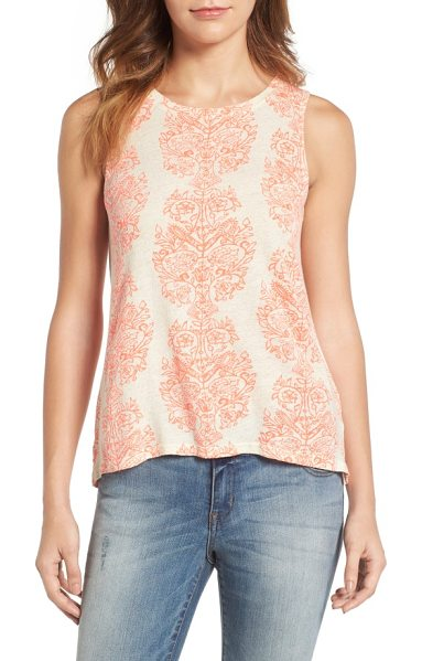 Lucky Brand woodblock print tank in natural multi - An exotic print brings a bright boho mood to a high-neck...