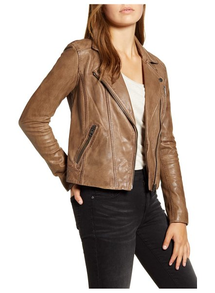 Lucky Brand worn leather moto jacket in brown