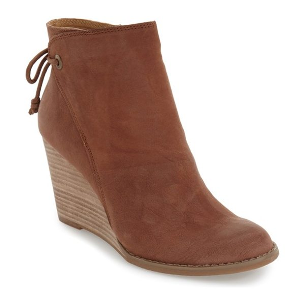 Lucky Brand 'yamina' wedge zip bootie in toffee leather - An unadorned vamp rises from the almond toe to the...