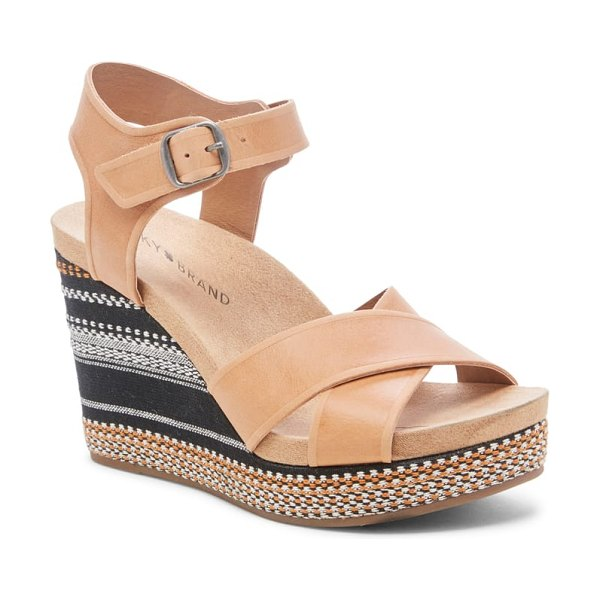 Lucky Brand yarosan platform wedge sandal in brown - A wrapped platform wedge adds striking color and pattern...
