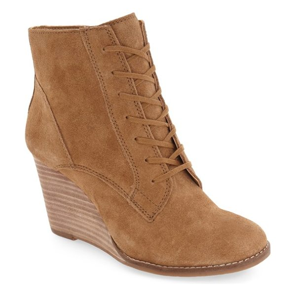 LUCKY BRAND 'yelloh' wedge bootie - Soft pieced suede details this vintage-inspired lace-up...