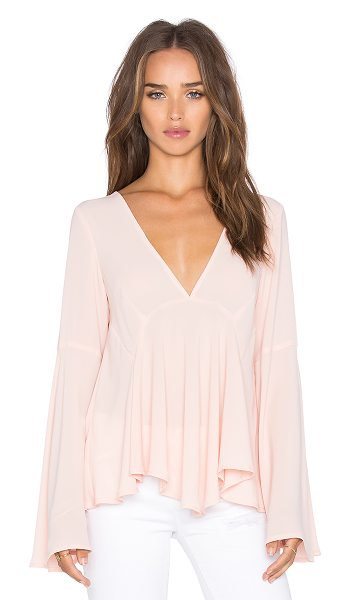 Lucy Paris Bell Sleeve Top in blush - 100% poly. Hand wash cold. Back keyhole with button...