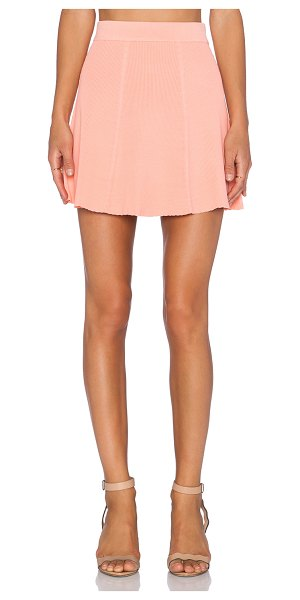 Lucy Paris Rib skater mini skirt in coral - 52% viscose 48% nylon. Dry clean only. Skirt measures...