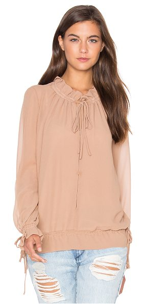Lucy Paris Tie Up Blouson Top in tan - Silk blend. Hand wash cold. Neckline keyhole with tie...