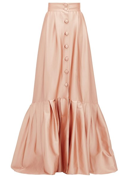 Luisa Beccaria pleated-hem buttoned satin skirt in light pink
