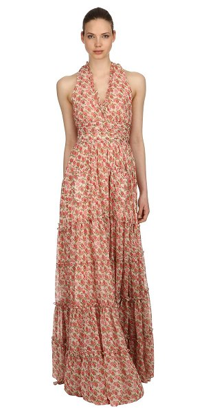 Luisa Beccaria Roses printed georgette dress in pink - Deep V neckline. Back self-tie straps . Ruffled trim ....