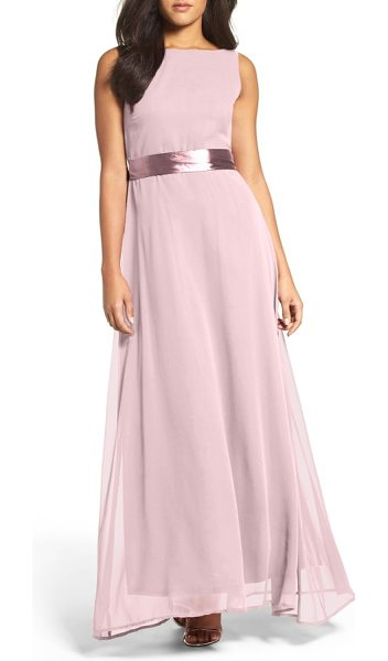Lulus belted v-back chiffon gown in rusty rose - An elegant bateau neckline plunges to a dramatic V-back...