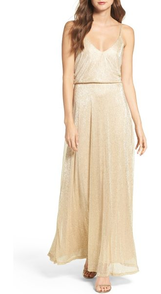 Lulus blouson shimmer gown in taupe gold - Go ahead, let down your hair and light up the evening in...