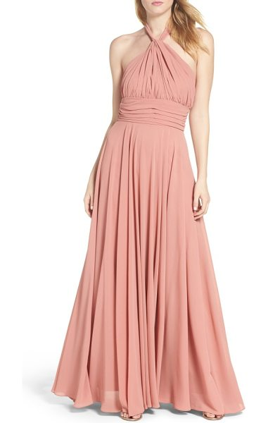 LULUS chiffon halter gown in rusty rose - Curve-following gathers flatter myriad body types in...