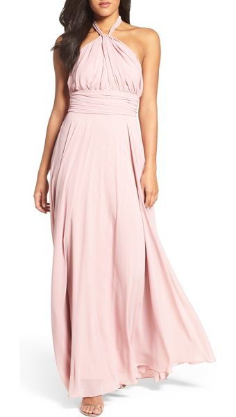 Lulus chiffon halter gown in mauve - Curve-following gathers flatter myriad body types in...