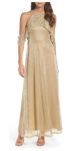 Lulus cold shoulder gown in gold - Go ahead, let down your hair and light up the evening in...