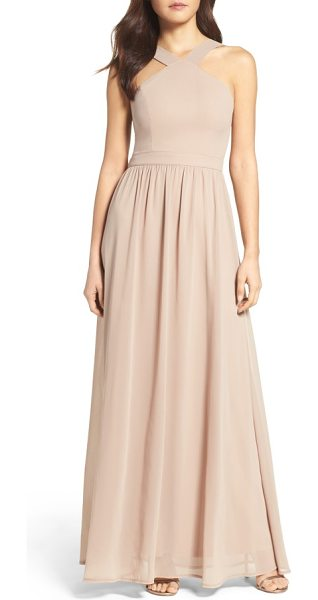 Lulus cross neck a-line chiffon gown in nude - When you look back in photos years from now, this...