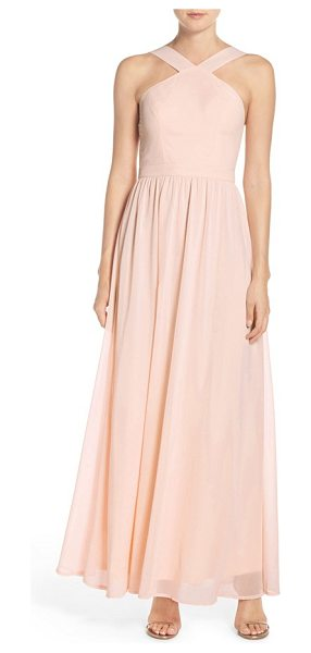 LULUS cross neck a-line chiffon gown in peach - When you look back in photos years from now, this...