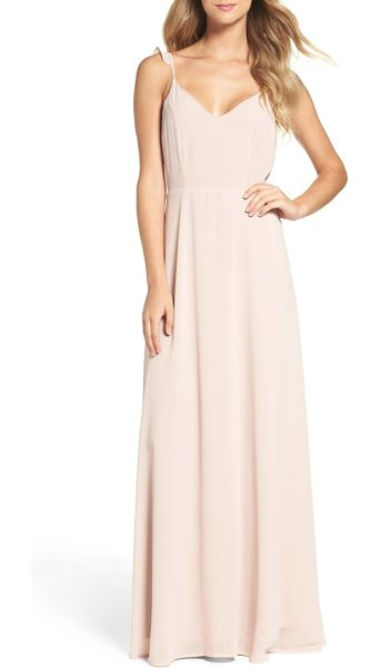 LULUS flutter strap a-line chiffon gown - Softly romantic in front and showstopping from behind,...