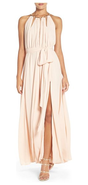 Lulus chiffon gown in blush - Exude modern romance in a pleated A-line gown of floaty...