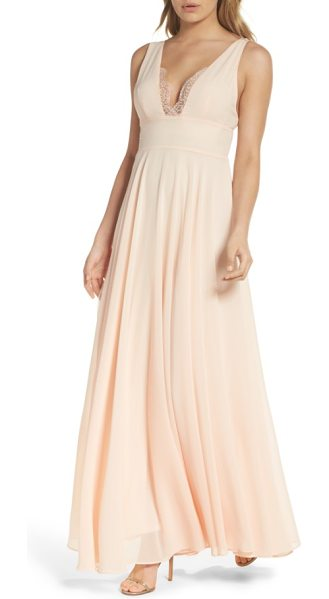 Lulus lace trim chiffon maxi dress in blush - A touch of lace at the decollete neckline turns up the...