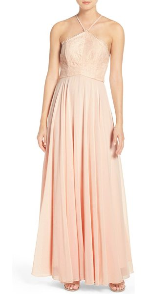 Lulus high neck lace & chiffon gown in light peach - A romantic gown shows off shoulders with a cutaway...