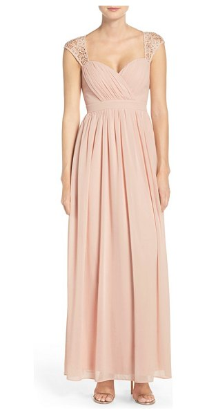 Lulus lace shoulder sleeveless chiffon gown in blush - Lace capping the shoulders brings an extra element of...