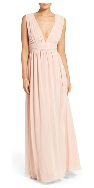 Lulus plunging v-neck chiffon gown in blush - Plunging necklines and deep arm openings style the...