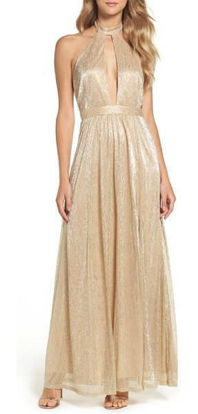 Lulus metallic halter gown in gold - A plunging front keyhole is alluring yet sophisticated...