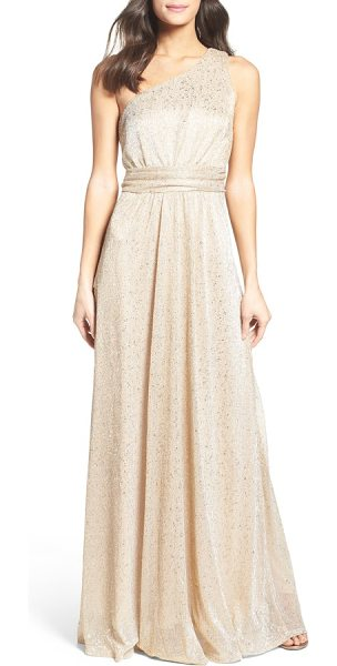 Lulus metallic one-shoulder gown in gold - Wrapped at the waist, this eye-catching metallic gown...