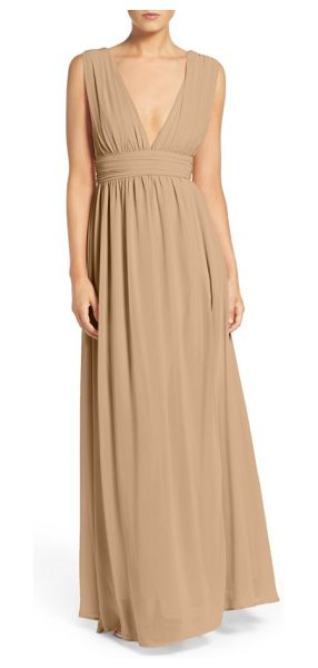 Lulus plunging v-neck chiffon gown in nude - Plunging necklines and deep arm openings style the...