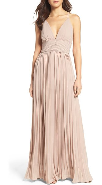 Lulus plunging v-neck pleat georgette gown in nude - A plunging V-neck and slender crisscrossing straps...