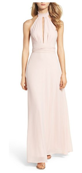 LULUS ruffle neck halter gown - A plunging front keyhole is alluring yet sophisticated...
