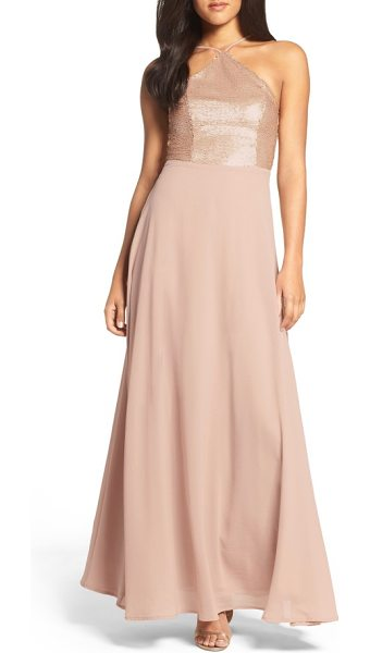Lulus sequin chiffon gown in matte blush - A sequin-lacquered bodice accentuates curves before...