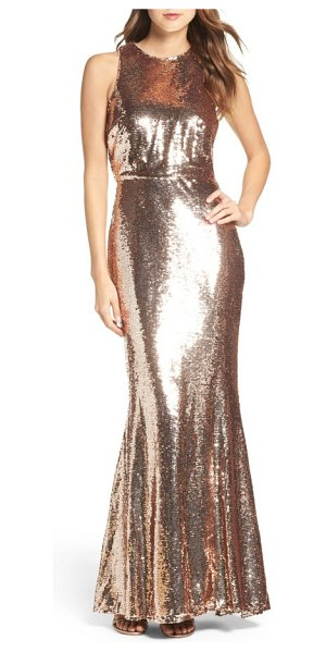 Lulus sequin mermaid gown in rose gold - Dazzling from head to toe, a shapely mermaid gown...