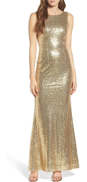 Lulus sleeveless sequin drape back gown in shiny gold - Lacquered in scintillating sequins, this sleeveless gown...