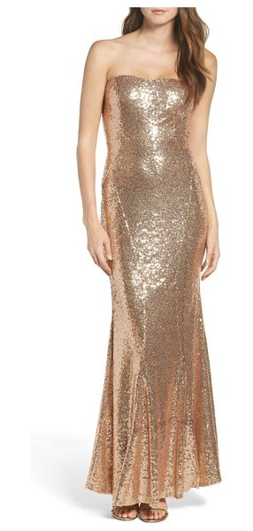 Lulus strapless sequin mermaid gown in rose gold - Allover sequins brings liquid shine to a glamorous gown...