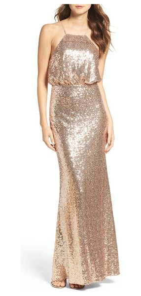 Lulus strappy sequin blouson gown in gold - Awash in shimmering metallic sequins, a shapely blouson...
