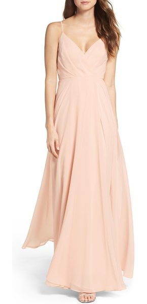 Lulus surplice chiffon gown in blush - Subtle pleats add flattering dimension to the attractive...