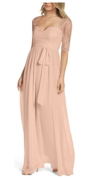 Lulus sweetheart chiffon gown in blush - Delicate Chantilly lace creates a soft Queen Anne...