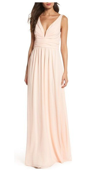 Lulus v-neck chiffon gown in pink - A chiffon gown notches up the allure with a statement...