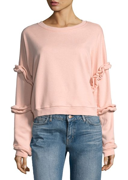 Lumie Ruffled-Sleeve Sweatshirt in blush - Lumie sweatshirt with ruffle trim. Crew neckline. Long...