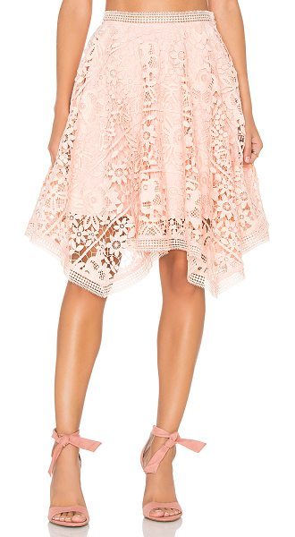 """Lumier Squire Hem Lace Skirt in peach - """"Poly blend. Hand wash cold. Fully lined. Bold allover..."""