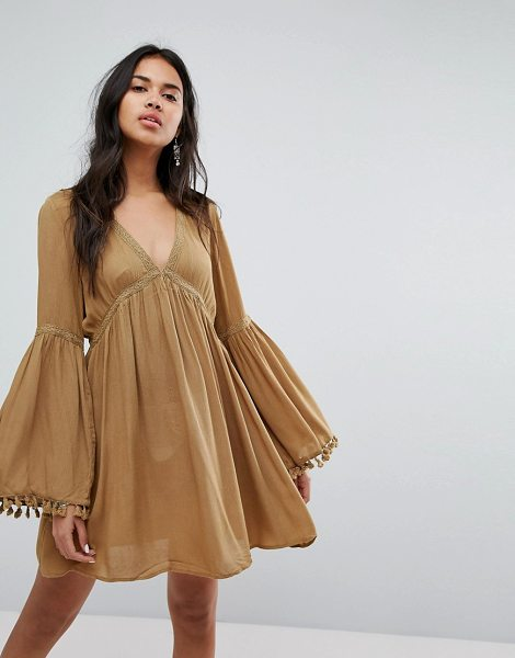 Lunik Bell Sleeve Tunic Dress With Trim in camel - Dress by Lunik, V-neck, Crochet-lace trims, Flared...
