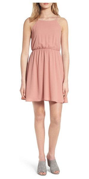 Lush back tie blouson dress in rose dawn - A slender elastic waistband adds flattering shape to...