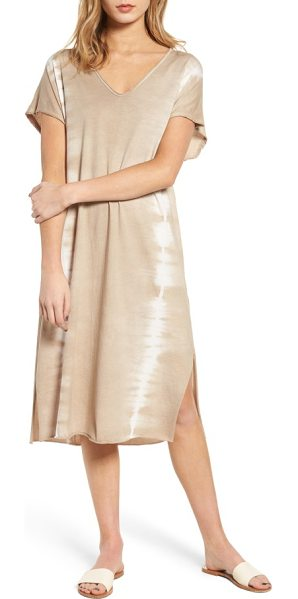 Lush braid detail tie dye dress in taupe-cream - Raw edges enhance the relaxed attitude of a tie-dyed...