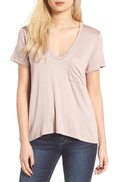 Lush deep-v neck tee in etherea taupe