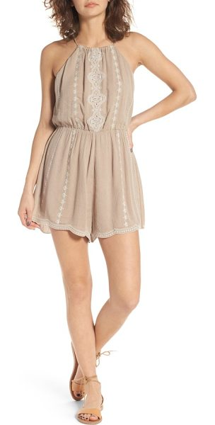 Lush embroiderd high neck romper in cocoa - Intricate embroidery brings bohemian charm to a...