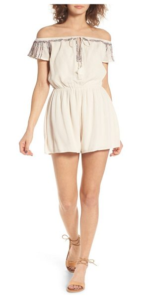 Lush embroidered off the shoulder romper in vintage cream - Delicate embroidery and tassel-tipped ties bring boho...