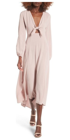 Lush front tie maxi dress in mauve
